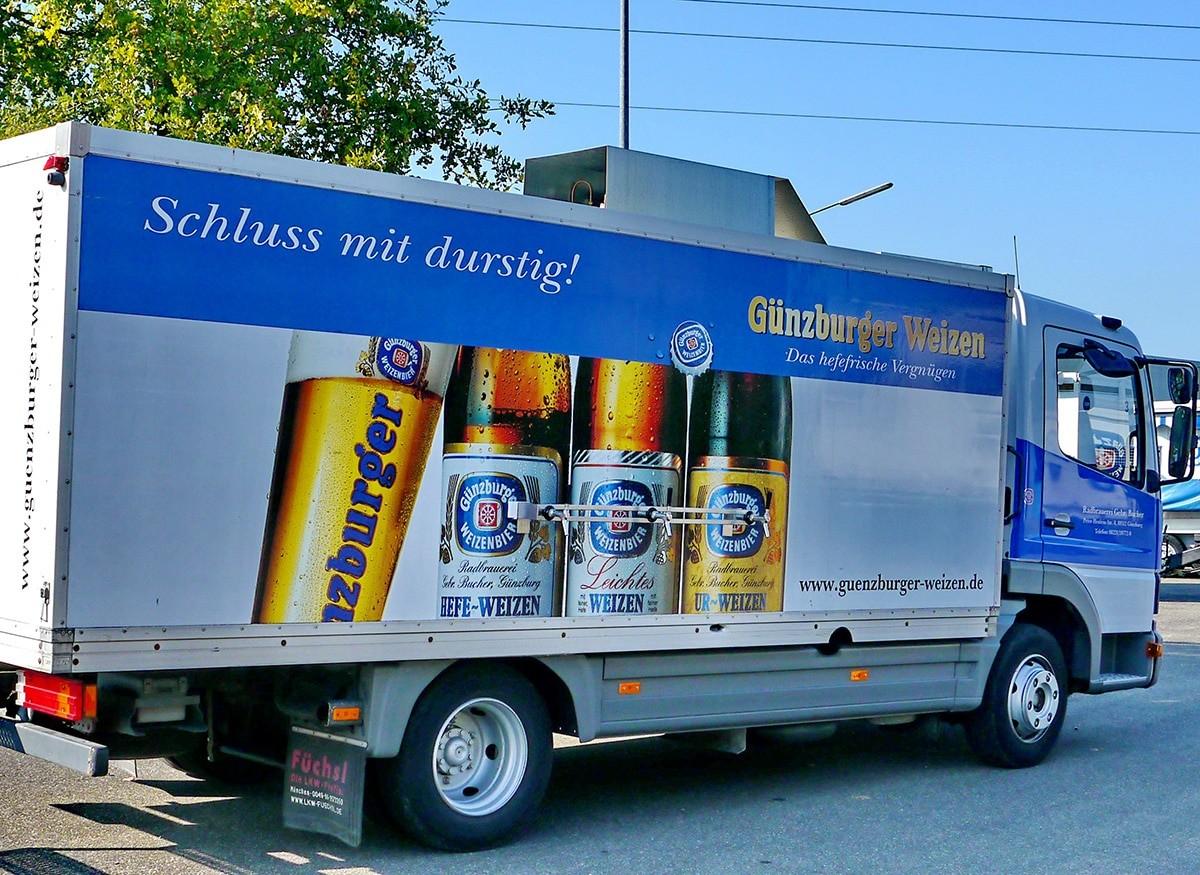Radbrauerei Gebr. Bucher –Günzburger Weizen – Mietservice, Kühl-LKW