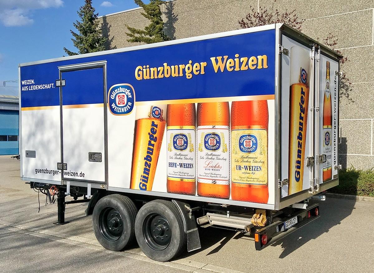 Radbrauerei Gebr. Bucher –Günzburger Weizen – Mietservice, Kühlanhänger