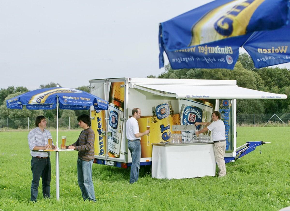 Radbrauerei Gebr. Bucher –Günzburger Weizen – Mietservice, Markisenwagen