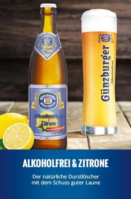 Radbrauerei Gebr. Bucher –Günzburger Weizen – Alkoholfrei & Zitrone
